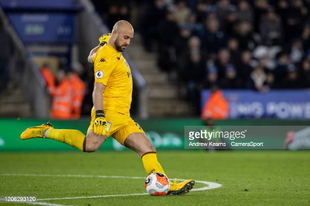 Aston Villa's Pepe Reina during the Premier League match between Leicester City and Aston Villa at The King Power Stadium on March 9 2020 in...