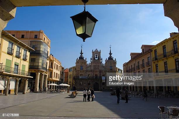 Astorga Main square Plaza Mayor Town Hall Via de la plata Ruta de la plata Leon province Castilla y Leon Camino de Santiago Way of St James Spain...