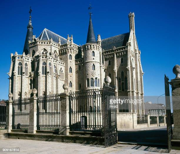 Astorga province of Leon Castile and Leon Spain Episcopal Palace Modernist building in the neoGothic style It was designed by Antoni Gaudi in 1887...