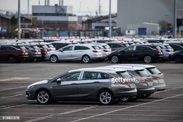 Astra hatchback automobiles manufactured by Vauxhall Motors Ltd owned by PSA Group sit in the lot at their factory in Ellesmere Port UK on Monday Feb...