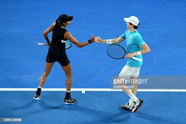 Astra Sharma and JohnPatrick Smith of Australia celebrate a point in their Mixed Doubles Final match against Rajeev Ram of the United States and...
