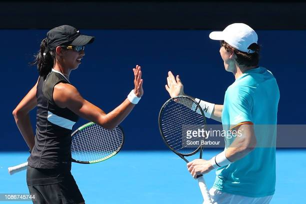 Astra Sharma and JohnPatrick Smith of Australia celebrate in their Mixed Doubles Quarterfinals match against Bethanie MattekSands of the United...