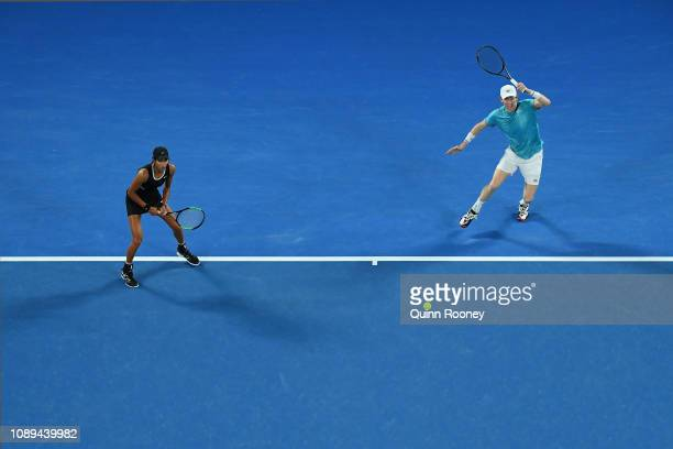 Astra Sharma and JohnPatrick Smith of Australia in their Mixed Doubles Final match against Rajeev Ram of the United States and Barbora Krejcikova of...