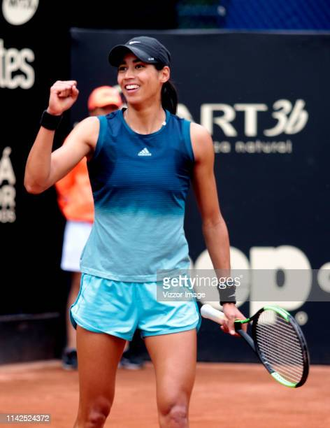 Astra Sharma celebrates the victory over Lara Arruabarrena in their match for the semifinal as part of the WTA Claro Open Colsanitas 2019 at El...