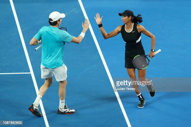 Astra Sharma of Australia and JohnPatrick Smith of Australia celebrates a point during their Mixed Doubles Semi final match against Nicole Melichar...