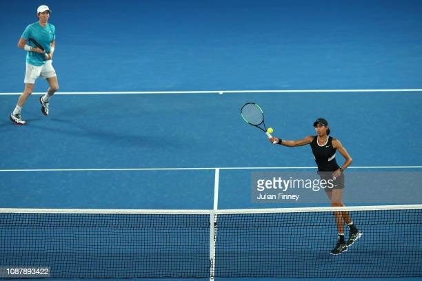 Astra Sharma of Australia and JohnPatrick Smith of Australia during their Mixed Doubles Semi final match against Nicole Melichar of the United States...