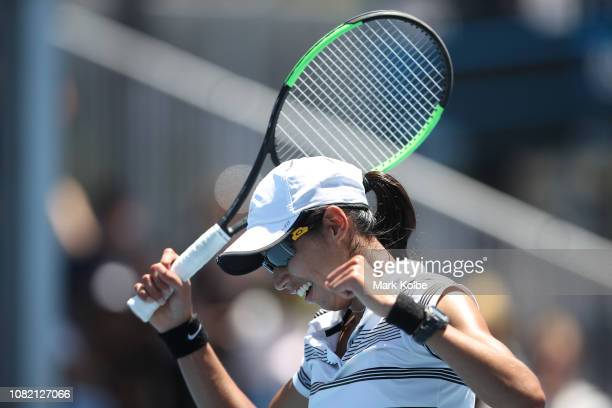 Astra Sharma of Australia celebrates match point in her first round match against Priscilla Hon of Australia during day one of the 2019 Australian...