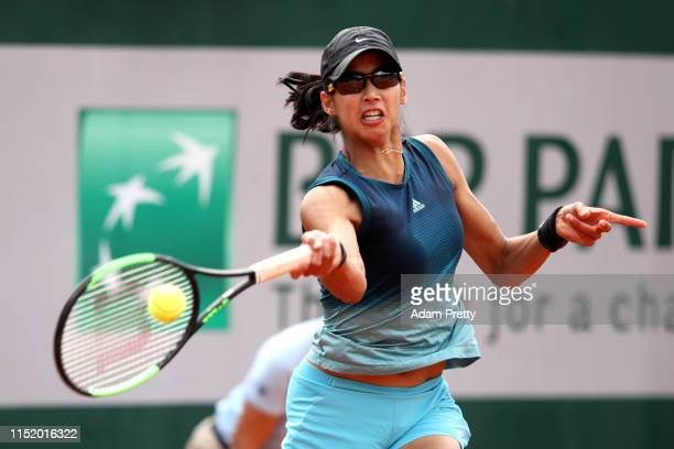 Astra Sharma of Australia during her ladies singles first round match against Shelby Rogers of The United States during Day two of the 2019 French...