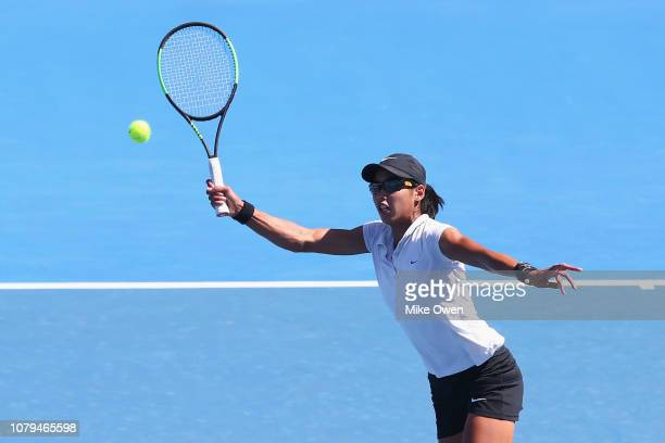 Astra Sharma of Australia hits a forehand in her match against Vera Zvonareva of Russia during day two of Qualifying for the 2019 Australian Open at...