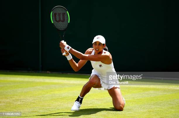 Astra Sharma of Australia plays a backhand during the Ladies' Singles first round match against Sofia Kenin of The United States during Day one of...