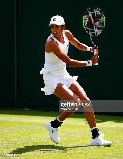 Astra Sharma of Australia plays a backhand in her Ladies' Singles first round match against Sofia Kenin of The United States during Day one of The...