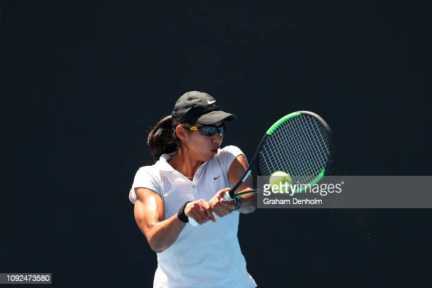 Astra Sharma of Australia plays a backhand in her match against Irina Khromacheva of Russia during Qualifying ahead of the 2019 Australian Open at...