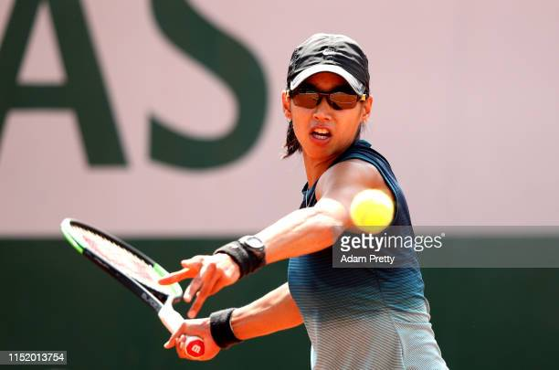 Astra Sharma of Australia plays a forehand during her ladies singles first round match against Shelby Rogers of The United States during Day two of...
