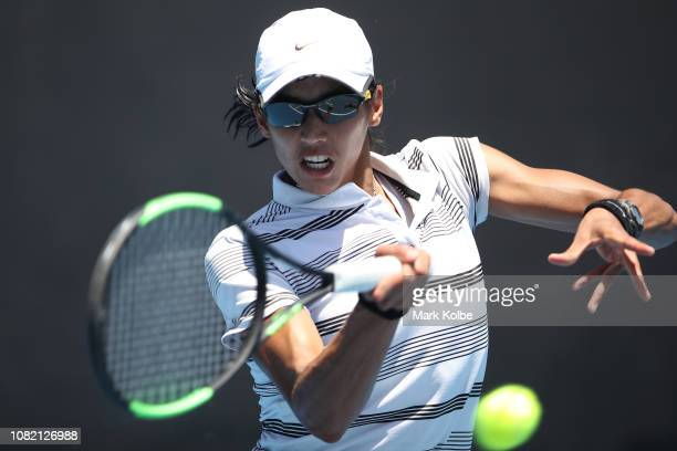 Astra Sharma of Australia plays a forehand in her first round match against Priscilla Hon of Australia during day one of the 2019 Australian Open at...
