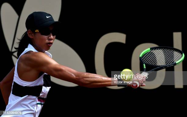 Astra Sharma of Australia returns the ball against Magda Linette of Poland as part of the WTA Claro Open Colsanitas 2019 at El Carmel Club on April...