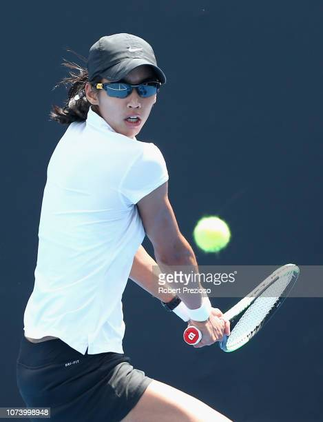 Astra Sharma plays a backhand in her match against Kimberly Birrell during the 2019 Australian Open Playoff at Melbourne Park on December 16 2018 in...