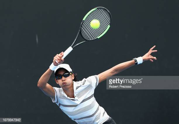Astra Sharma plays a forehand in her matach against Zoe Hives during the 2019 Australian Open Playoff at Melbourne Park on December 15 2018 in...
