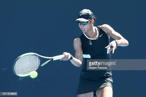 Astra Sharma plays a forehand in her match against Isabelle Wallace during the 2019 Australian Open Playoff match at Melbourne Park on December 11...