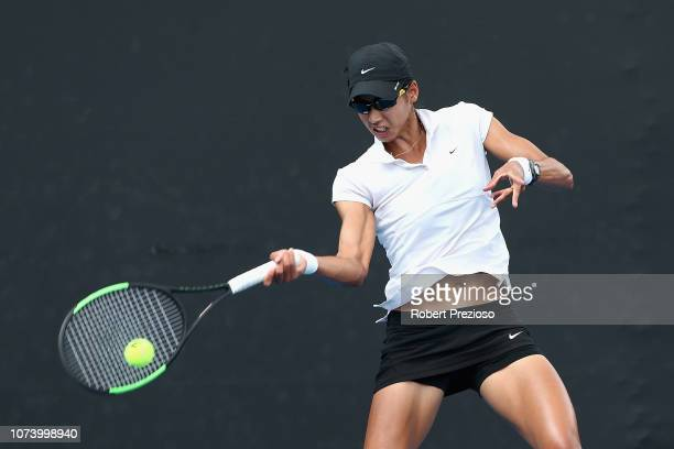 Astra Sharma plays a forehand in her match against Kimberly Birrell during the 2019 Australian Open Playoff at Melbourne Park on December 16 2018 in...