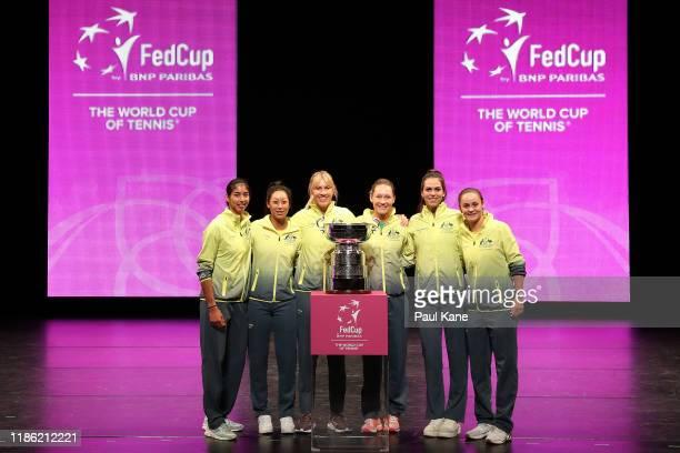 Astra Sharma, Priscilla Hon, Alicia Molik, Sam Stosur, Ajla Tomljanovic, Ash Barty of Australia pose with the Fed Cup following the Official Draw...
