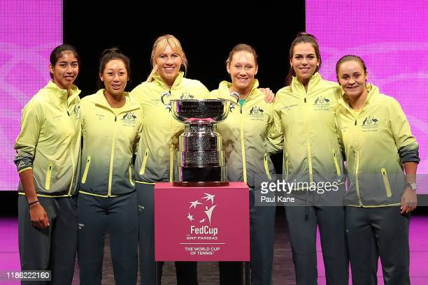 Astra Sharma Priscilla Hon Alicia Molik Sam Stosur Ajla Tomljanovic Ash Barty of Australia pose with the Fed Cup following the Official Draw ahead of...
