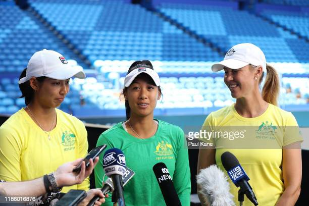 Astra Sharma Priscilla Hon and Alicia Molik Australia Fed Cup Captain address the media during the 2019 Fed Cup Final Media Opportunity at RAC Arena...