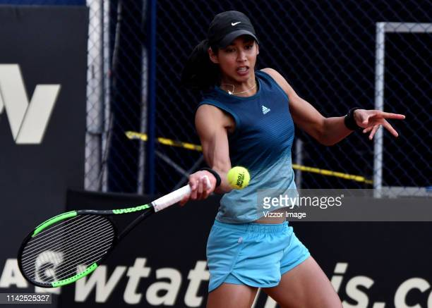 Astra Sharma returns the ball against Lara Arruabarrena in their match for the semifinal as part of the WTA Claro Open Colsanitas 2019 at El Carmel...