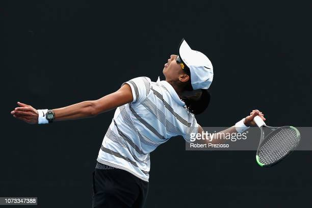 Astra Sharma serves in her matach against Zoe Hives during the 2019 Australian Open Playoff at Melbourne Park on December 15 2018 in Melbourne...