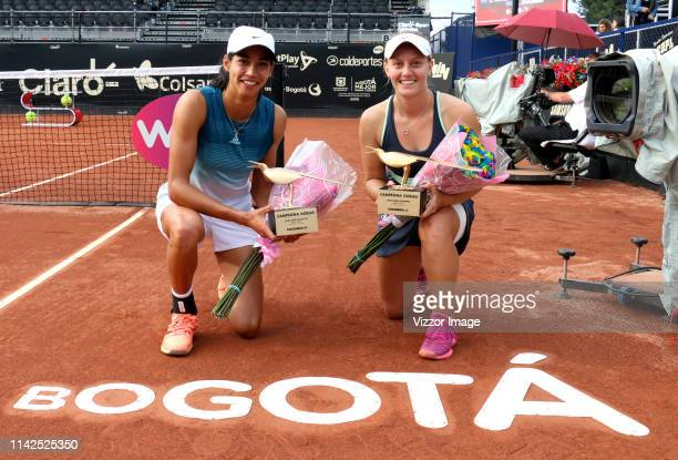 Astra Sharma Zoe Hives with the trophy as champions of doubles as part of the WTA Claro Open Colsanitas 2019 at El Carmel Club on April 13 2019 in...