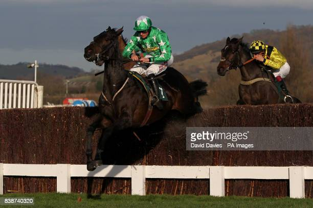 Astracad ridden by Jockey Sam Twiston-Davies jumps in the Jenny Mould Memorial Handicap Chase