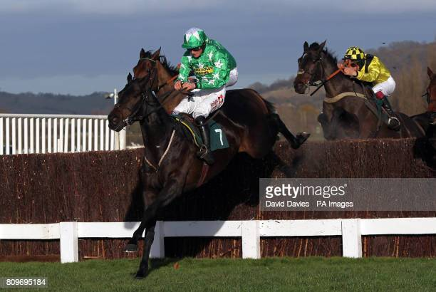 Astracad ridden by Sam Twiston-Davies jumps the last on their way to victory in the Jenny Mould Memorial Handicap Chase during day two of The...
