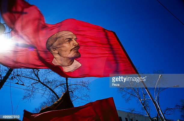 1996 Astrakhan Russia Effigy of Lenin on a flag during a demonstration commemorating the victory of the Allied forces on May 8 1945