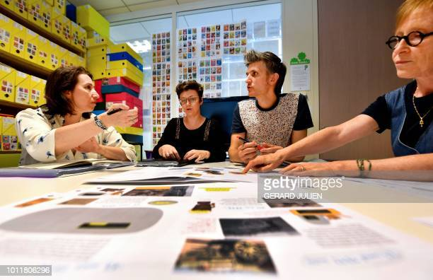 Astrapi's artistic director Stephane Mattern and Astrapi's editor in chief Gwenaelle Boulet have a meeting with members of staff in the newsroom of...