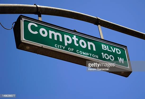 Astreet sign in the City of Compton on July 19 2012 in Compton California The City of Compton located south of Los Angeles with a population of...