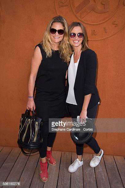 Astrid Bard and Isabelle Ithurburu attend the 2015 Roland Garros French Tennis Open Day Four on May 26 2015 in Paris France