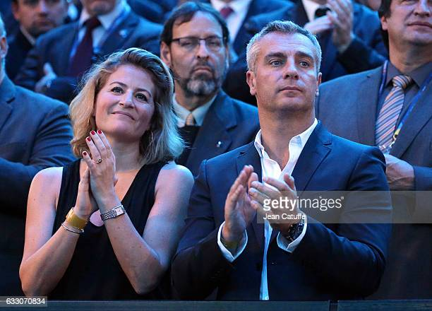 Astrid Bard and Yann Delaigue attend the 25th IHF Men's World Championship 2017 Final between France and Norway at Accorhotels Arena on January 29...