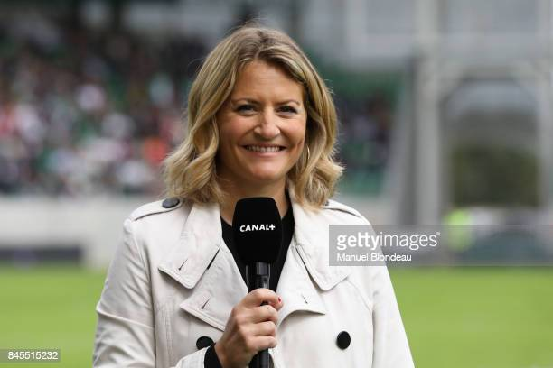 Astrid Bard ofTV Canal during the Top 14 match between Pau and Lyon on September 10 2017 in Pau France