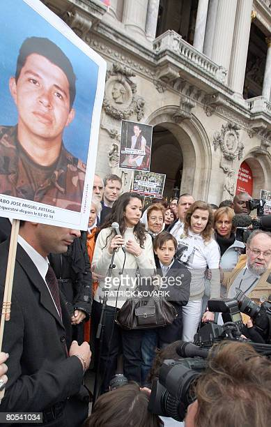 Astrid Benancourt sister of French Colombian hostage Ingrid Betancourt is about to give a speech at the start of a Solidarity marche by thousands of...