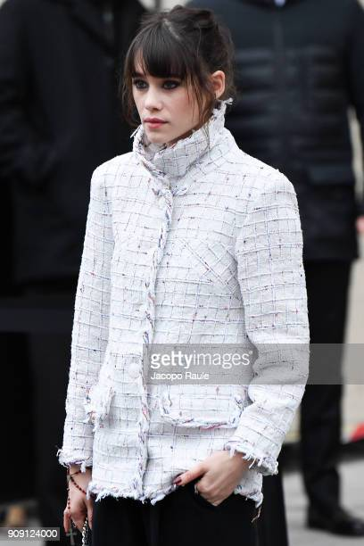 Astrid Berges is seen arriving at Chanel Fashion show during Paris Fashion Week Haute Couture Spring/Summer 2018 on January 23 2018 in Paris France