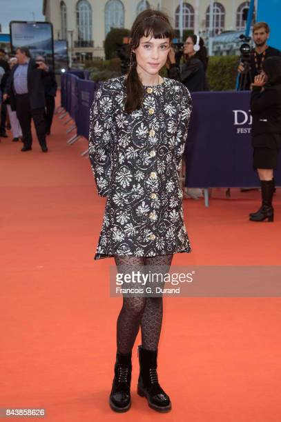 Astrid BergesFrisbey poses on the red carpet before the screening of the movie The Zookeepr's Wife during the 43rd Deauville American Film Festival...