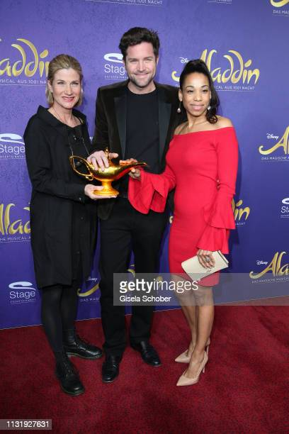 Astrid Fuenderich Peter Ketnath Maykelis Ketnath during the premiere of the musical Aladdin at Stage Apollo Theater on March 21 2019 in Stuttgart...