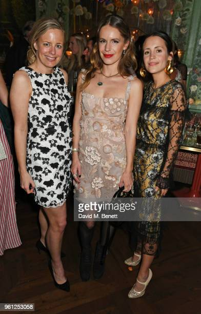 Astrid Harbord Eugenie Niarchos and Emma Reeve attend the Annabel's x Dior dinner on May 21 2018 in London England