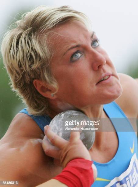 Astrid Kumbernuss competes in the women's shot put during the Track and Field German Championship on July 2, 2005 in Bochum, Germany.