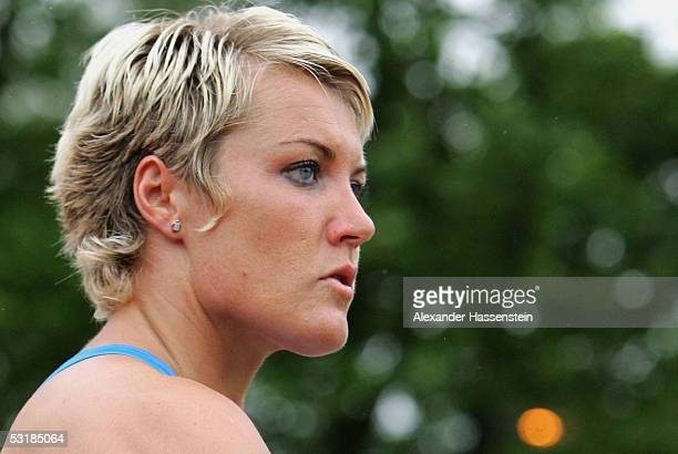 Astrid Kumbernuss competes in the womens shot put during the Track and Field German Championship on July 2, 2005 in Bochum, Germany.