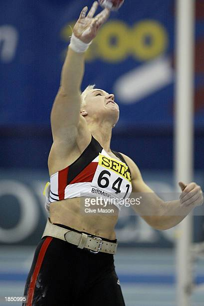 Astrid Kumbernuss of Germany in action during the Womens Shot Put final during the 9th IAAF World Indoor Athletics Championships at the National...