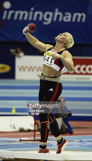 Astrid Kumbernuss of Germany in action during the Womens Shot Put during the 9th IAAF World Indoor Athletics Championships on March 15, 2003 at the...