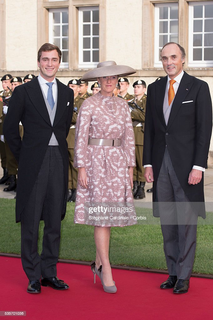 Astrid of Belgium and Lorenz d'Autriche-Este attend the wedding ceremony of Prince Guillaume of Luxembourg and Princess Stephanie of Luxembourg at the Cathedral of our Lady of Luxembourg, in Luxembourg.