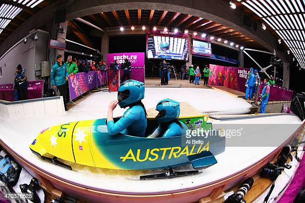 Astrid Radjenovic and Jana Pittman of Australia team 1 compete during the Women's Bobsleigh on Day 12 of the Sochi 2014 Winter Olympics at Sliding...