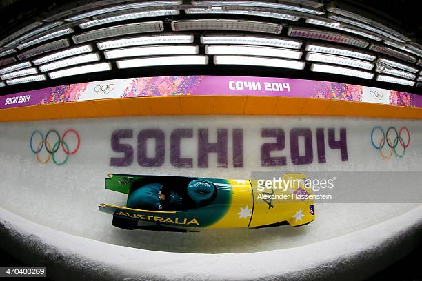 Astrid Radjenovic and Jana Pittman of Australia team 1 make a run during the Women's Bobsleigh on Day 12 of the Sochi 2014 Winter Olympics at Sliding...