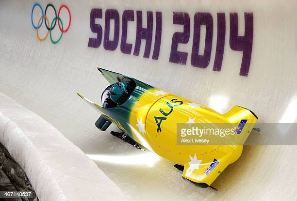 Astrid Radjenovic of Australia pilots a bobsleigh practice run ahead of the Sochi 2014 Winter Olympics at the Sanki Sliding Center on February 6 2014...